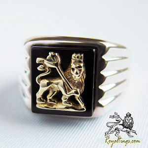 Lion of judah rasta anillo gold silver