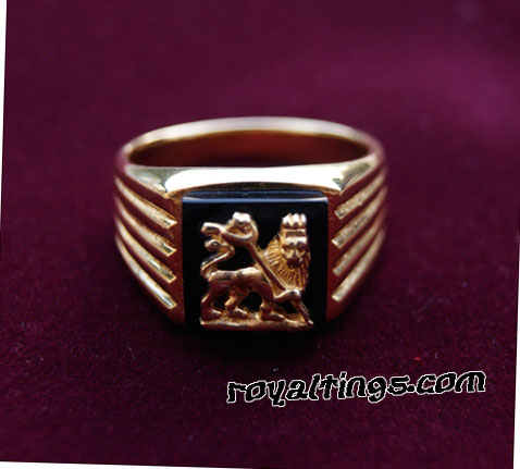 Lion of judah Oro anillo 24k