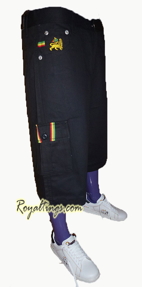 Baggy Short Bermuda Rasta Lion of Judah noir, beige, kaki