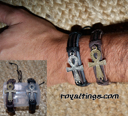Ankh cross leather bracelet