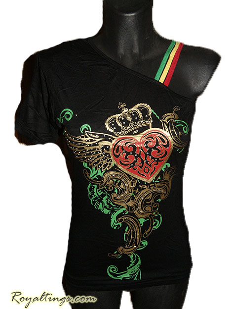 Top rasta Heart crown strass