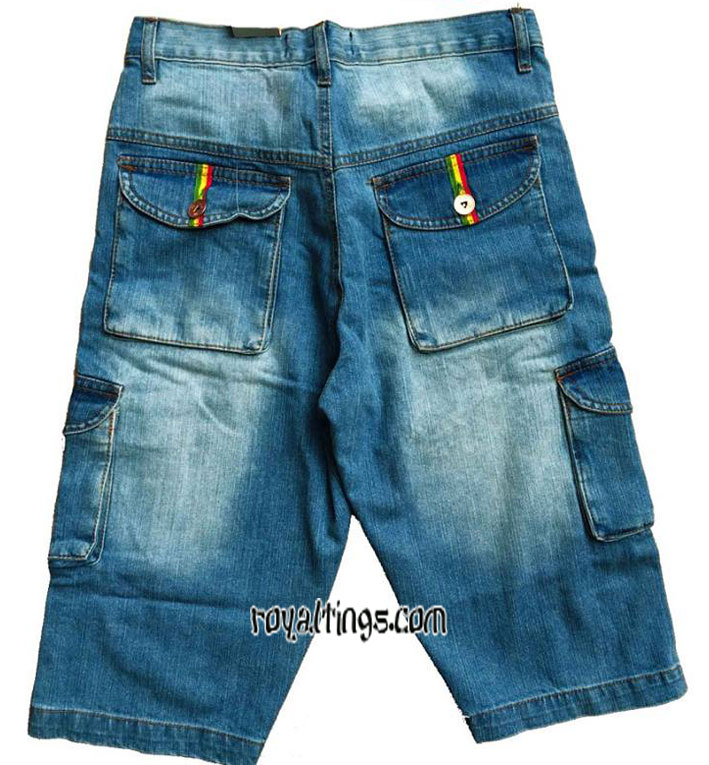 Denim Short Rasta lion of judah