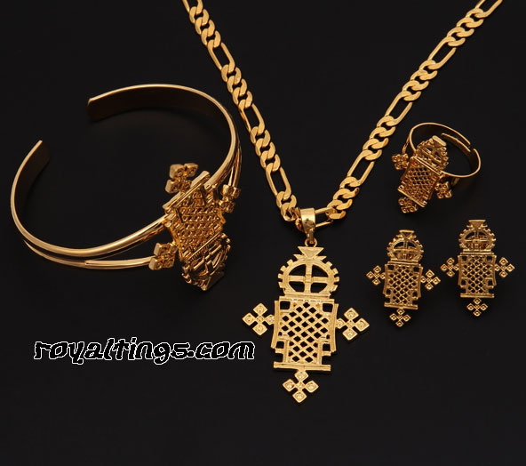 Ethiopian jewels set gold plated
