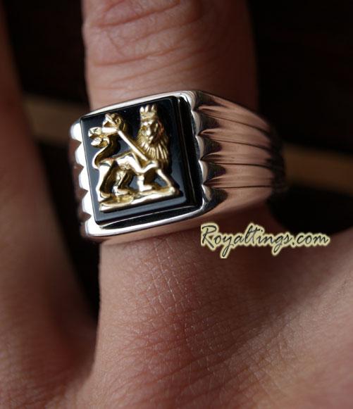 bague lion of judah or et argent goldsilring boutique rasta. Black Bedroom Furniture Sets. Home Design Ideas